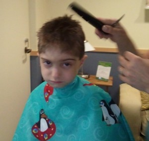 Simeon getting his haircut